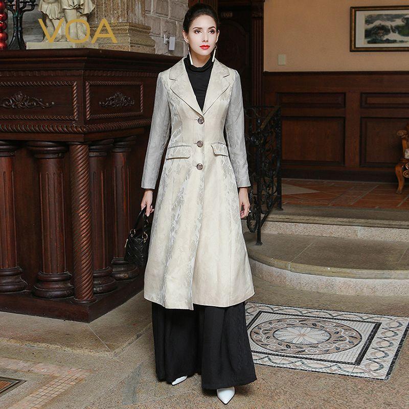 VOA 2018 Herbst Mode Dünne Beige Plus Größe Frauen Graben Mantel Langarm Anzug Kragen Schwerer Seide Lange Tunika Mantel FLH00101