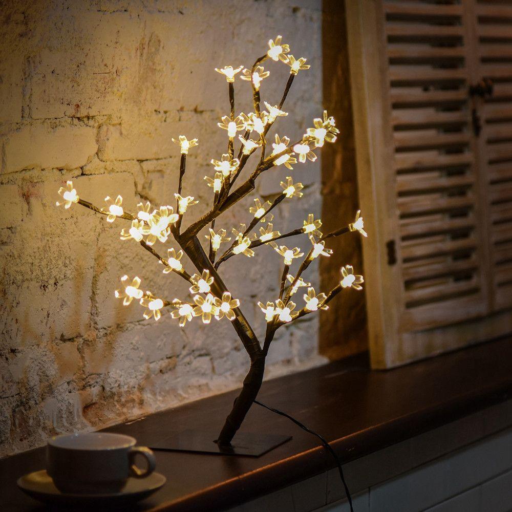 Hot sale table lamp 48LED Cherry Blossom Desk Top Bonsai Tree Light lamparas de mesa para el dormitorio abajur para quarto