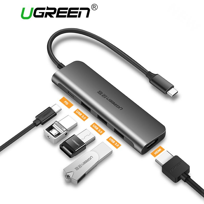 Ugreen USB C HUB USB-C to 3.0 HUB HDMI VGA Thunderbolt 3 Adapter for MacBook Samsung Galaxy S9/S8 Huawei P20 Pro Type C USB HUB