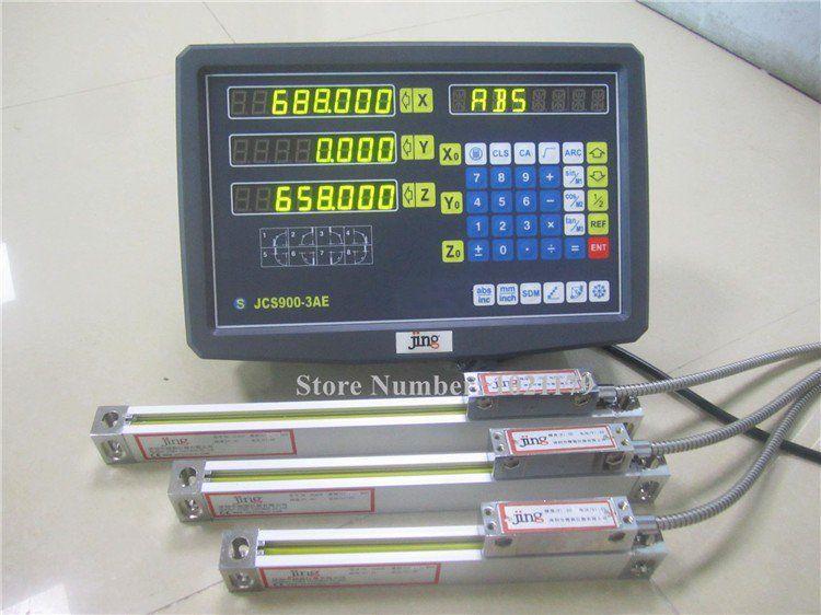Neue 3 Achsen digital anzeige mit lineare skala 100-1020mm 5 mikron linear encoder komplette dro kits freies verschiffen