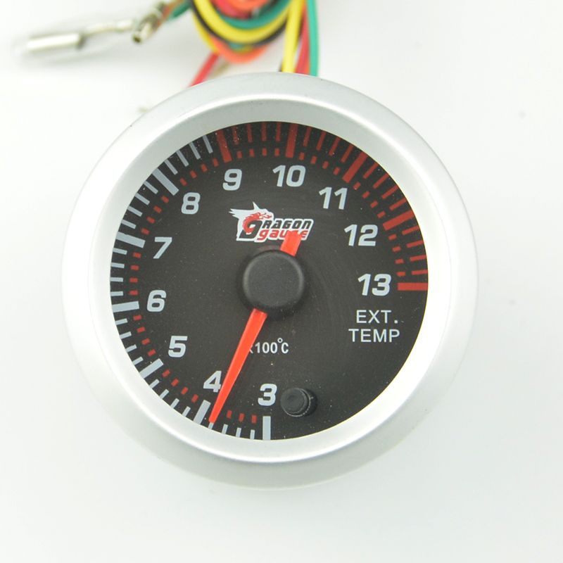 Universal New 52mm Silver frame  Colorful backlight  Car Exhaust Gas tempe gauge Car modification EXT temperature  meter