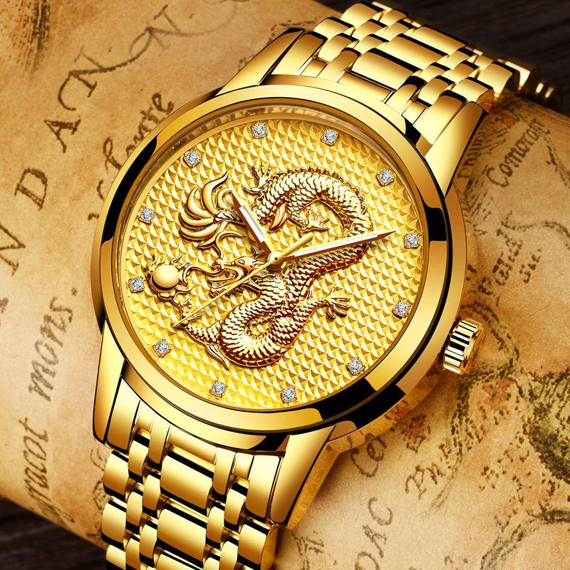 relogio masculino Genuine LIGE Mens Watches Top Brand Luxury Gold Dragon Sculpture Quartz Watch Men Full Steel Wristwatch +box