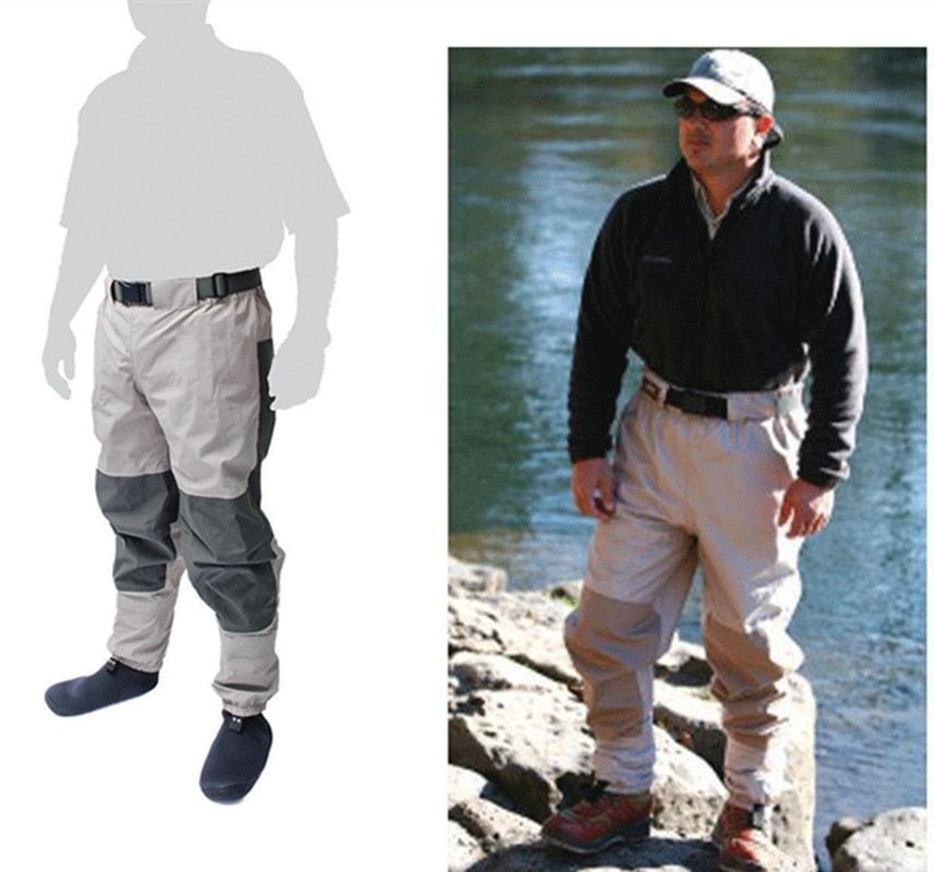 Outdoor half length elastic waist wader pants thick breathable fabric waterproof men women fishing sock jumpsuit trousers