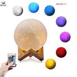 3D impresión lámpara Luna luz recargable de la noche RGB cambio de Color dormitorio Interruptor táctil 3D lunar luna lámpara decoración creativa regalo