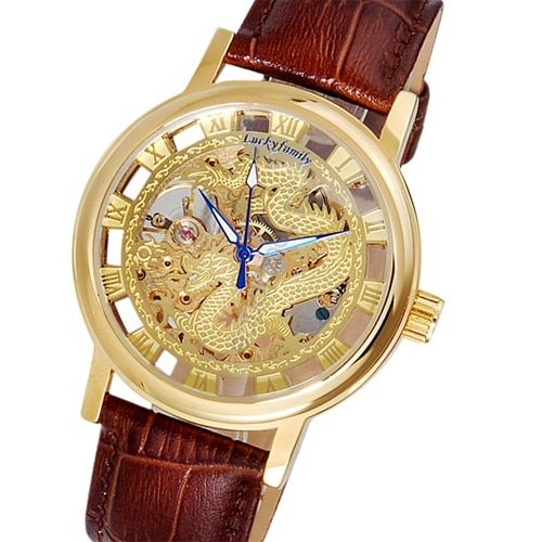 G8110 Unisex Dragon Pattern Cut-out Manual Wind Analog Mechanical Mens Watches with Faux Leather Strap Siver Gold Wristwatches