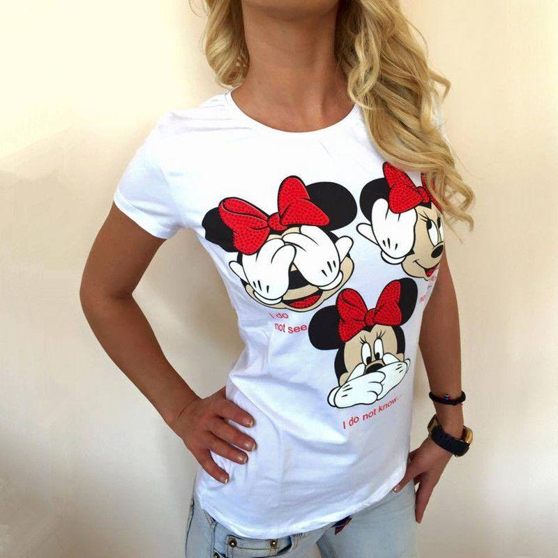 Sensfun Mode Blanc Nouveauté Été Femme Fille T-shirt Mickey Mouse Couleur Unie T-shirt En Coton Femme Casual Manches Courtes Tops