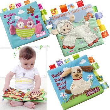 Животные Стиль Обезьяна/Сова/собака Новорожденные игрушки для детей Обучающие Детские ткани книги милый младенец, Ткань Книга игрушка из т...