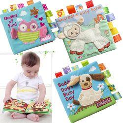 Gaya Hewan Monyet/Burung Hantu/Anjing Bayi Baru Lahir Mainan Edukasi Belajar Anak-anak Kain Buku Cute Bayi Bayi Kain Buku ratteles Mainan