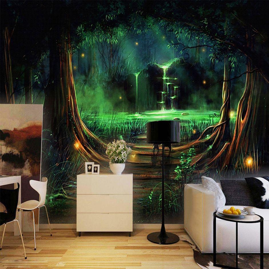Wand Home Decor Benutzerdefinierte Foto Tapete 3D Abstrakte Wald Wasserfall Tier Kinder Zimmer Schlafzimmer vlies Tapete Wandmalereien 3D