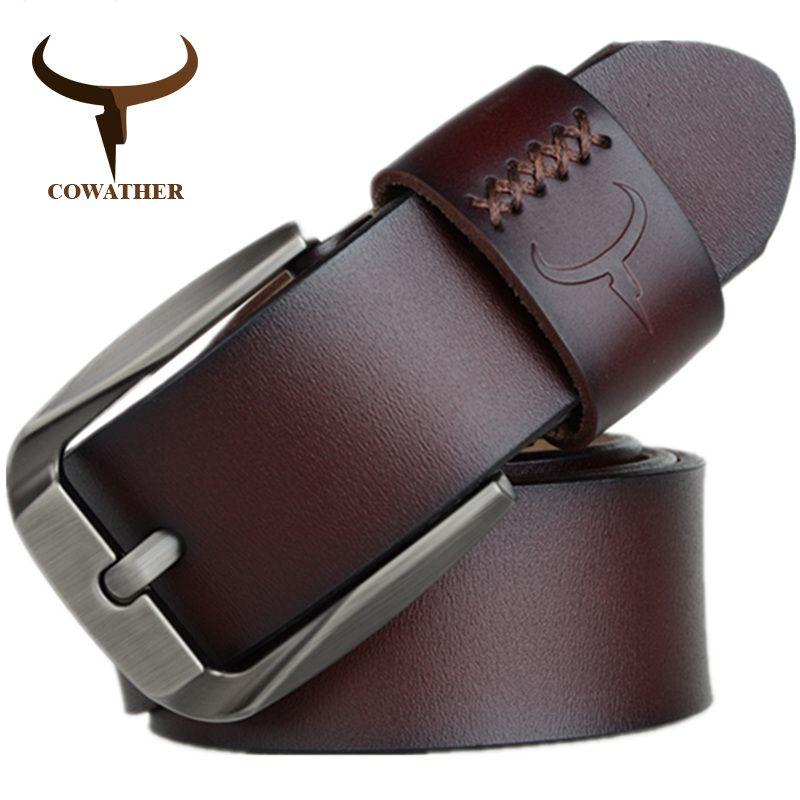 COWATHER Vintage stil dornschließe kuh echtes leder gürtel für männer 130 cm hohe qualität herren gürtel cinturones hombre kostenloser verschiffen