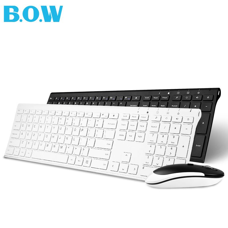 B.O.W Ultra thin Metal wireless Slim keyboard and mouse combo, Ergonomic Design & Full size keyboard for Desktop PC computer
