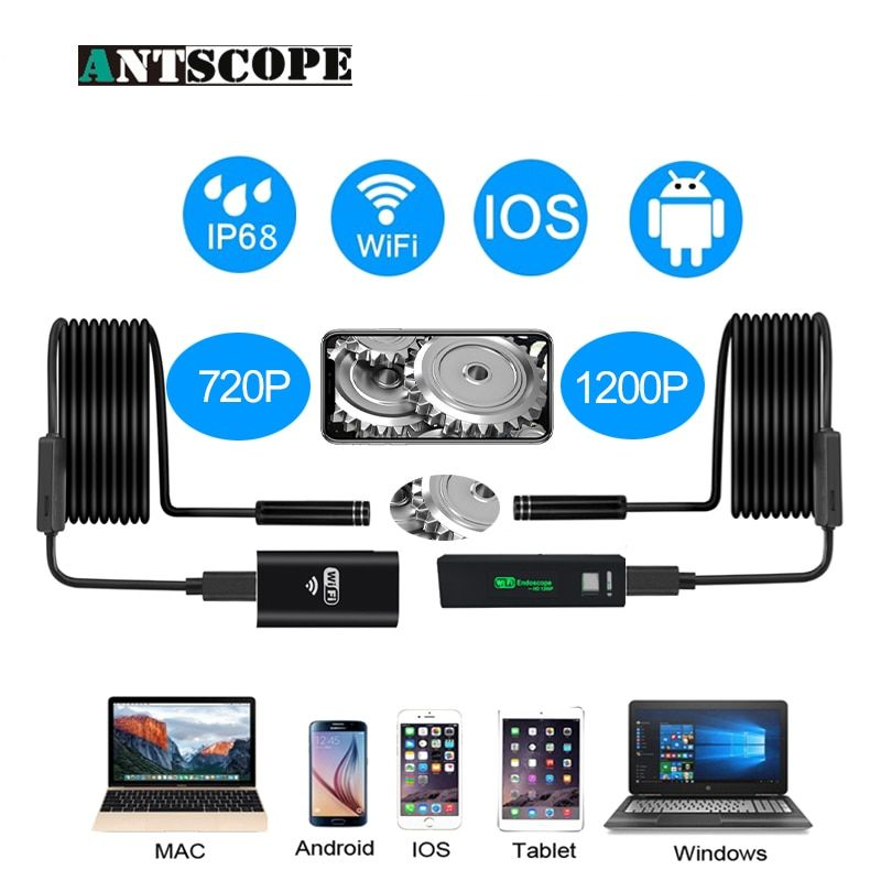 Antscope 1200p/720p Wifi Endoscope Camera for Iphone Android Borescope Waterproof Camera Endoscopic 8mm soft /Hard Tube iOS 40
