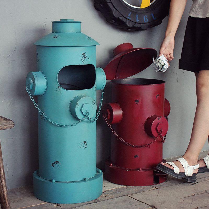 American vintage nostalgic iron sheet pillar-box garbage bucket home decoration props