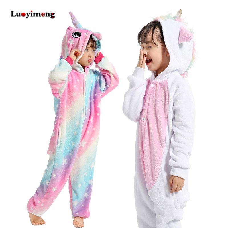 Girls Clothes Kids Gold Horn Unicorn Pajamas Kigurumi Cartoon Animal Pink Licorne Onesie Sleepers Boy Halloween Costume Jumpsuit