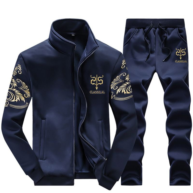 Tracksuit Men Casual Zipper Cotton Full Pockets Pattern Cotton Two Piece Clothing Sets <font><b>Track</b></font> Suit Sportswear Sweatsuits