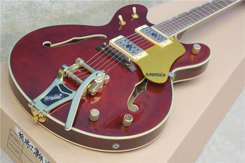 High Quality Custom Sho ROSE Wine Red Gretsch Falcon 5422T Thin Hollow Body Jazz Electric Guitar with Big Tremolo 6120
