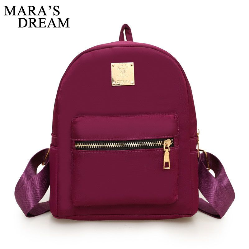 Mara's Dream Women Zipper Backpack Female Solid Color Fashion Nylon Waterproof School Bags For Teenagers Girls Computer Packsack