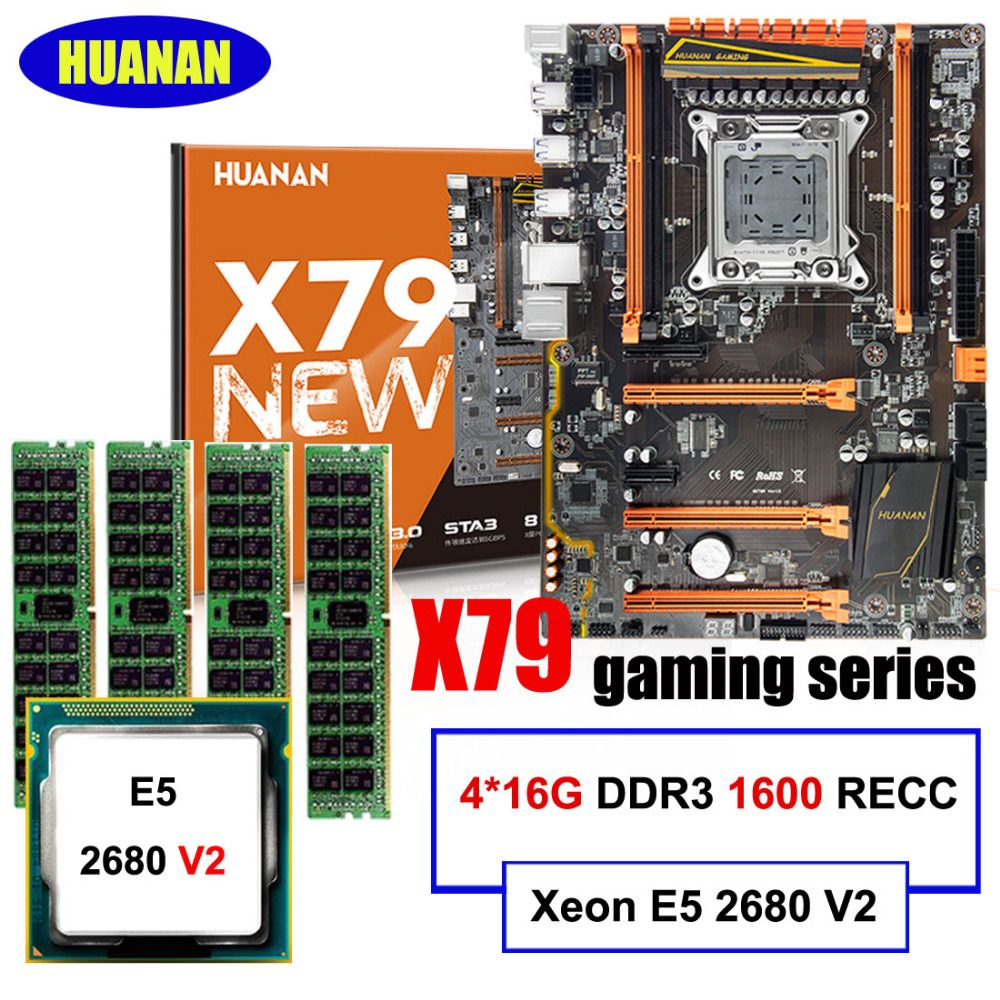 HUANAN gaming motherboard set deluxe X79 motherboard Xeon E5 2680 V2 RAM 64G(4*16G) 1600MHz DDR3 RECC build perfect computer