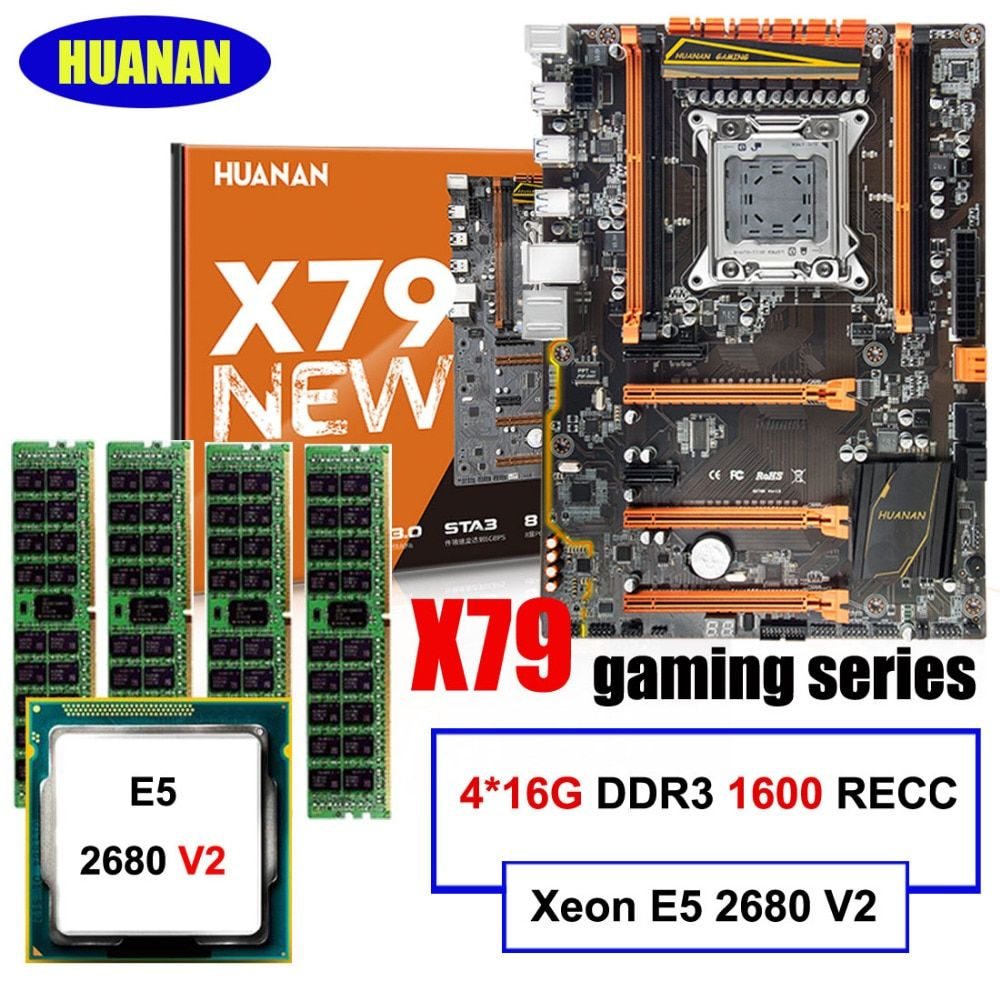 Hot HUANAN deluxe X79 gaming motherboard set CPU Xeon E5 2680 V2 SR1A6 RAM 64G(4*16G) 1600MHz DDR3 RECC build perfect computer