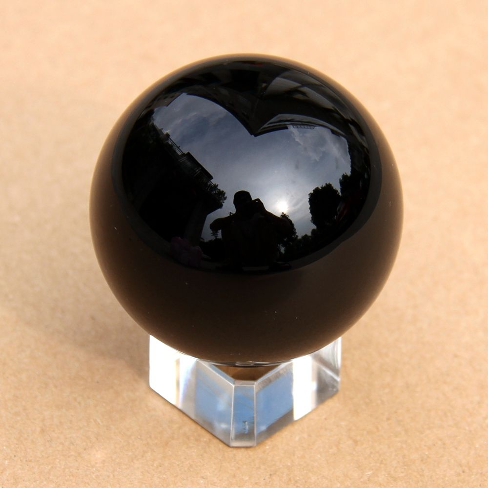 Party Supply 40mm Crystal Ball Black K9 Glass Asian Quartz Feng Shui Sphere Home Decoration DIY Part
