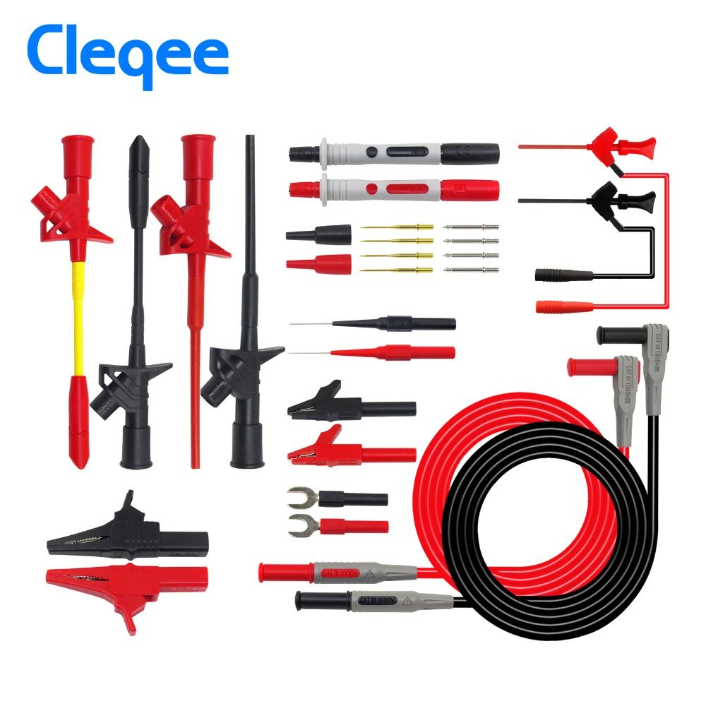 Cleqee P1300D P1300E P1300F Replaceable Multimeter Probe Test Hook&Test Lead kits 4mm Banana Plug Alligator <font><b>Clip</b></font> Test stick