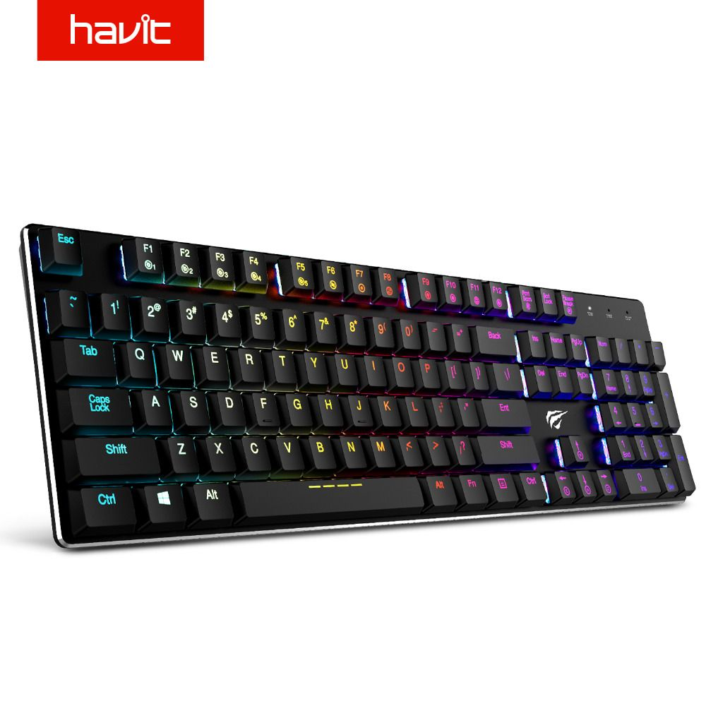 HAVIT Ultra Low Axis Mechanical Keyboard 104 Keys RGB Wired USB Mini Gaming Keyboard Metal Blue Switches For Laptop PC HV-KB395L