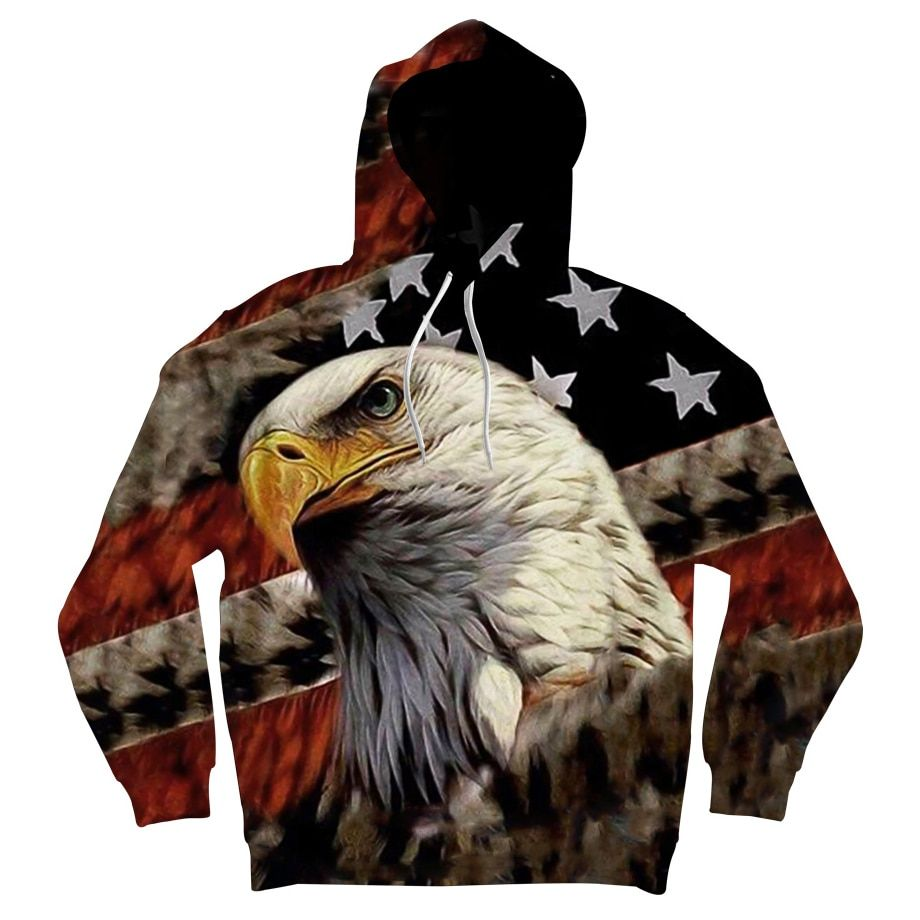 ONSEME Vintage USA Flag Eagle 3D Hoodies Sweatshirts Men/Women Cool Animal Printed Hooded Pullovers Long Sleeve Hoodie
