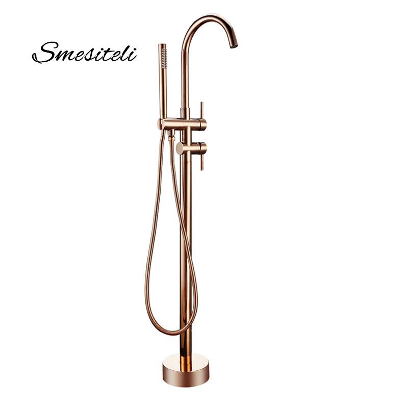 Smesiteli Bathroom Taps Brass Shower Diverter Floor Standing Bathtub Spout Mixer Tap Faucet Rose Gold for Bath 10 Year Warranty