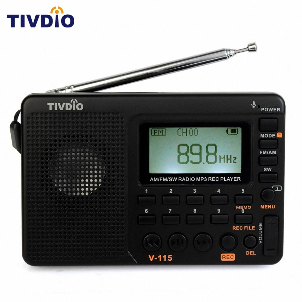 TIVDIO V-115 Radio FM/AM/SW World Band <font><b>Receiver</b></font> MP3 Player REC Recorder With Sleep Timer Black FM Radio Recorder F9205A