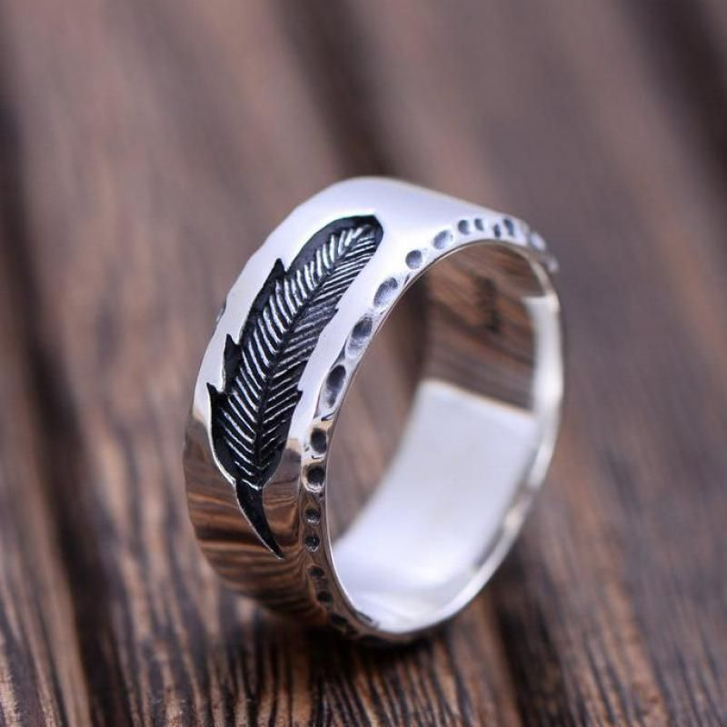 925 Sterling Silver Jewelry Creative Feather Ring For Women And Men Vintage Type Simple Fine Jewelry