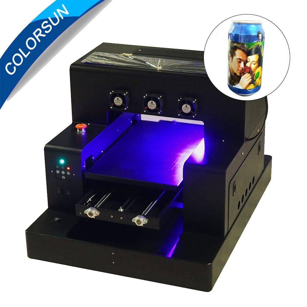 Colorsun Automatische A3 A2850UV Flachbettdrucker druck weiße farbe zu einer zeit mit flasche halter für Telefon fall Zylinder drucker