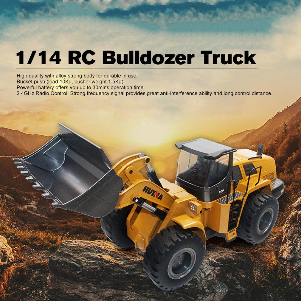 HUINA TOYS 1583 1/14 10CH Alloy RC Bulldozer Truck with Front Loader Truck Engineering Construction Car Vehicle Toy RTR for Boys