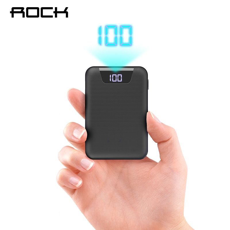 ROCK Mini Power Bank 10000mAh Dual USB Ports External Battery Powerbank with Digital Display for iphone XS Xiaomi PoverBank