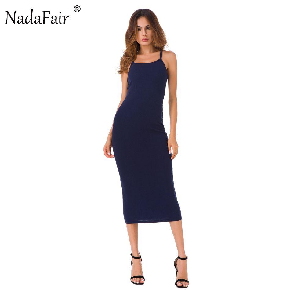 Nadafair sangle mi-mollet Stretch coton été longue robe femmes 2017 décontracté Sexy Club moulante Skinny robe de soirée Vestidos