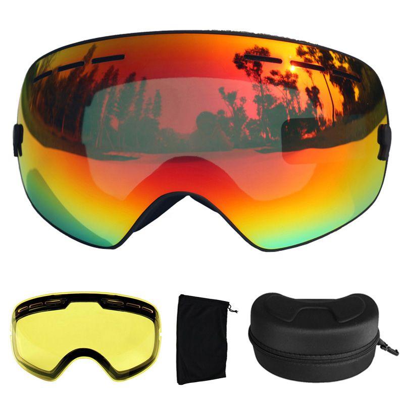 UV400 лыжные очки Анти-туман лыж Очки двойные линзы снег Лыжный спорт Сноуборд очки лыжные очки с дополнительный объектив и коробка