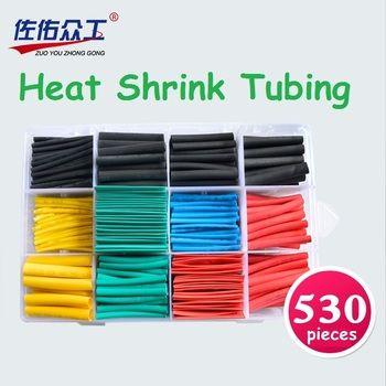 530 pcs/ensemble Thermorétractable Tube Isolant Rétractable Tube Assortiment Électronique Polyoléfine 2:1 Wrap Fil Câble Manches Kit