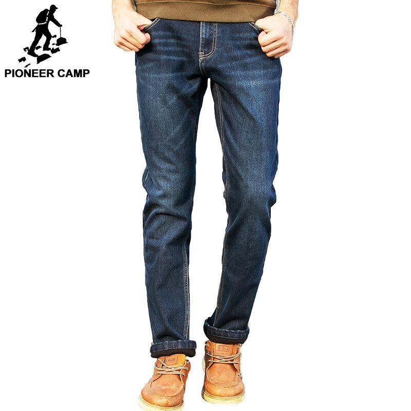 Pioneer Camp winter men jeans thicken fleece trousers brand clothing 2017 new fashion casual warm denim pants male quality