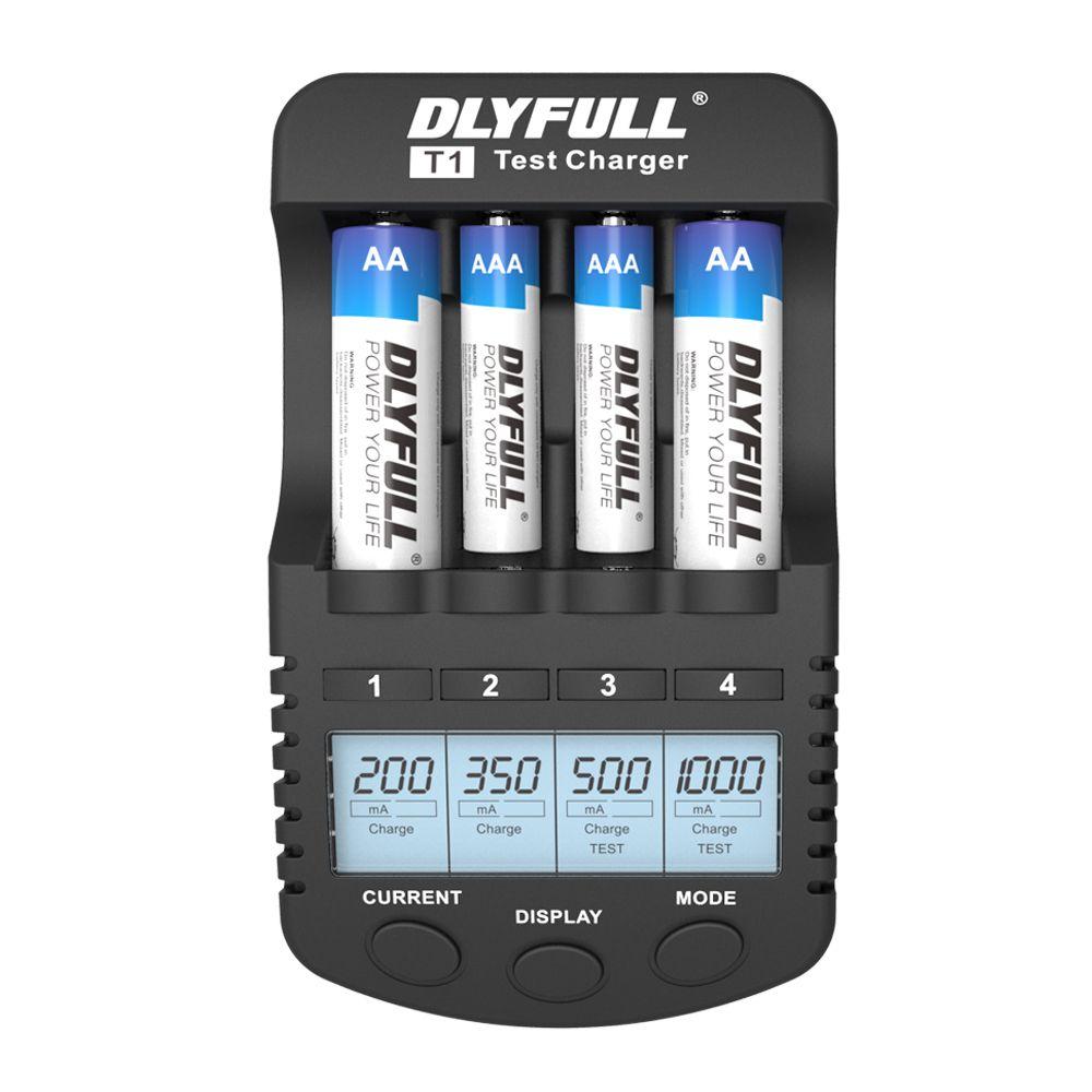 DLYFULL T1 Battery Chargers for AA Batteries LCD <font><b>NiMH</b></font> NiCD 1.2v Smart AA AAA Charger USB carregador de bateria inteligente EU 4