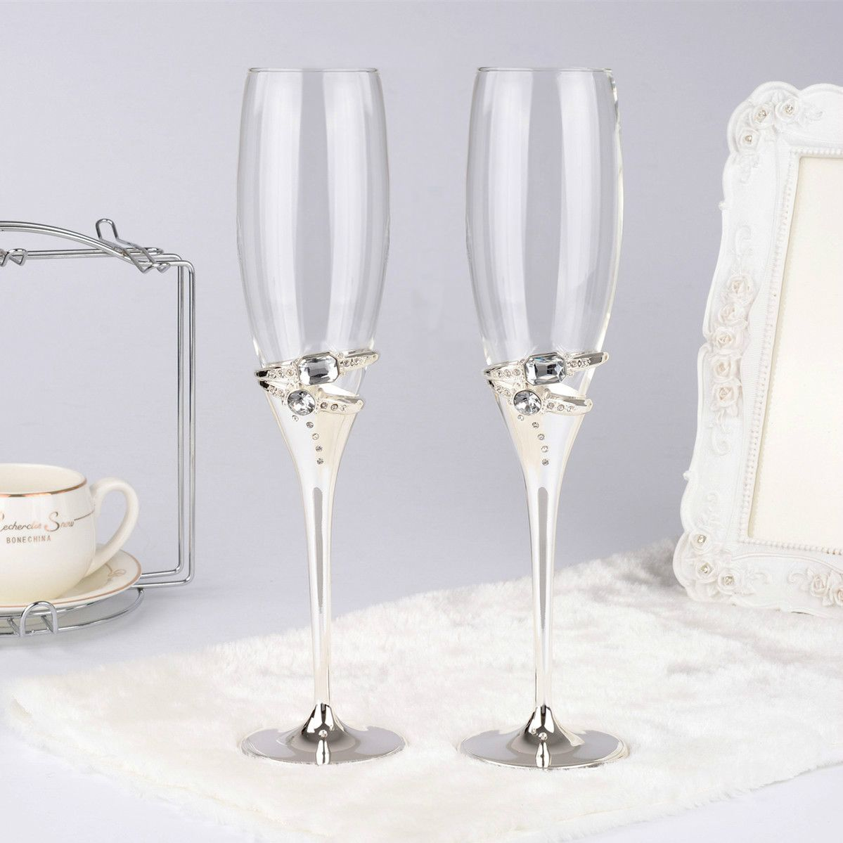 1 pair silver color wedding champagne red wine glasses with crystal 2 rings/ champagne glass decorations flute goblet