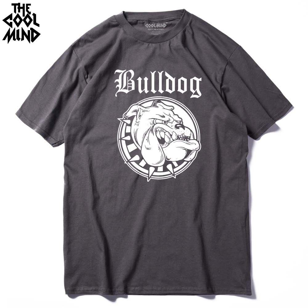 COOLMIND BU0111A 100% coton col rond Bulldog imprimer hommes t-shirt décontracté à manches courtes confortable tissu hommes t-shirt chemise