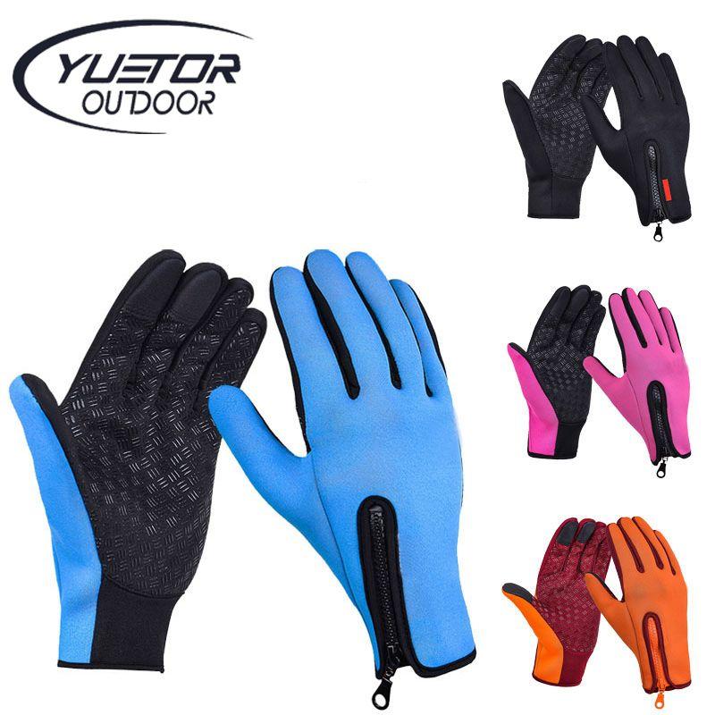 Full Finger Phone Glove Winter Ski Gloves Fleece Thermal Warm Bike Sport Gloves Motorcycle Bicycle Equipment Ski Cycling Gloves