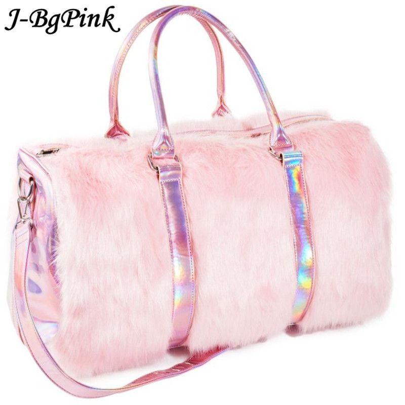 Soft Rainbow Handbags Sweet Girls Faux Fur women Tote Bags Large Capacity Laser Symphony Pink Shoulder BagsTravel Boston Bags
