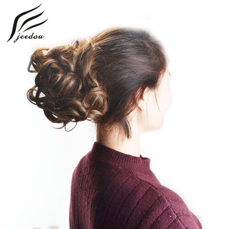Jeedou Synthétique Cheveux Chignon Clip en Extensions de Cheveux Noir Brun Blond Mix Couleur 100g Chignon Pad Bouclés Chignon postiches