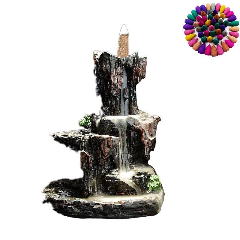 Hohen bergen und flowwater rauch rückfluss weihrauch brenner keramische steingarten Kreative ornamente censer antike weihrauch brenner Q $