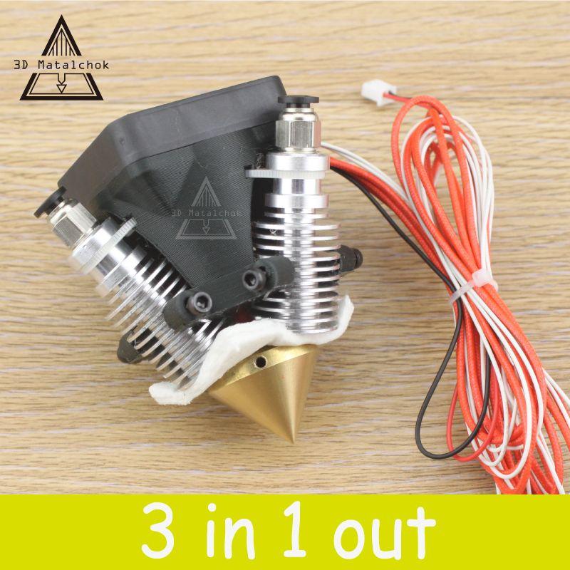 Diamond 3D Printer Extruder Hotend 3D V6 heatsink 3 IN 1 OUT Multi Nozzle KOSSEL full kit for 1.75/0.4mm