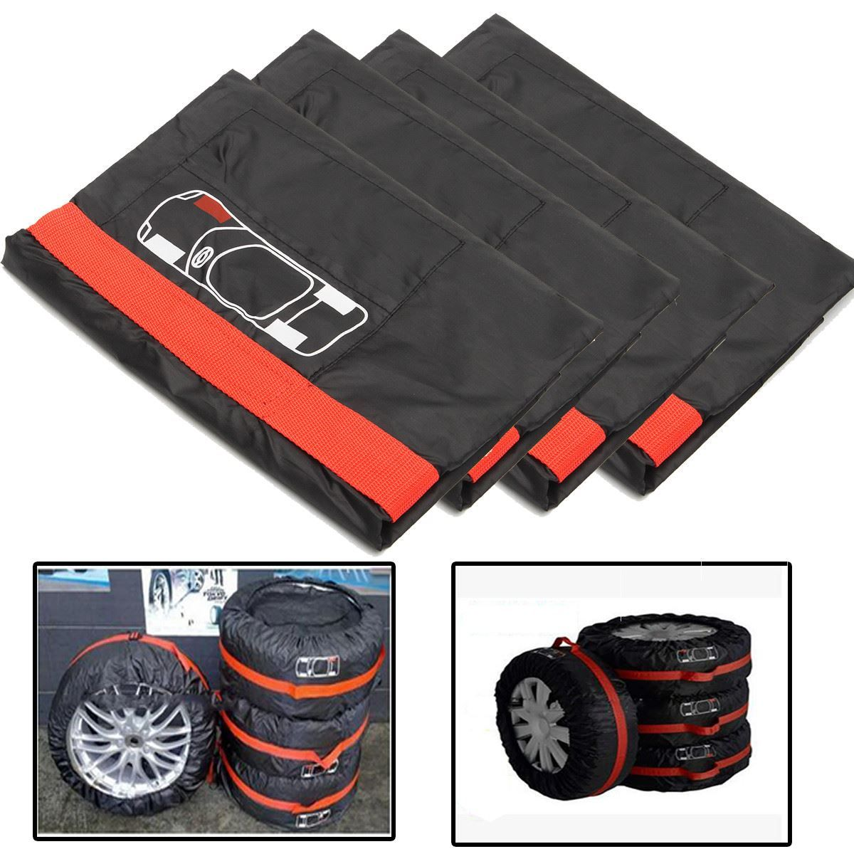 4PCs 16-20 Universal Car Spare Wheel Tyre Cover Protector Garage Case Auto Car Wheels Sun Shade Dust-Proof