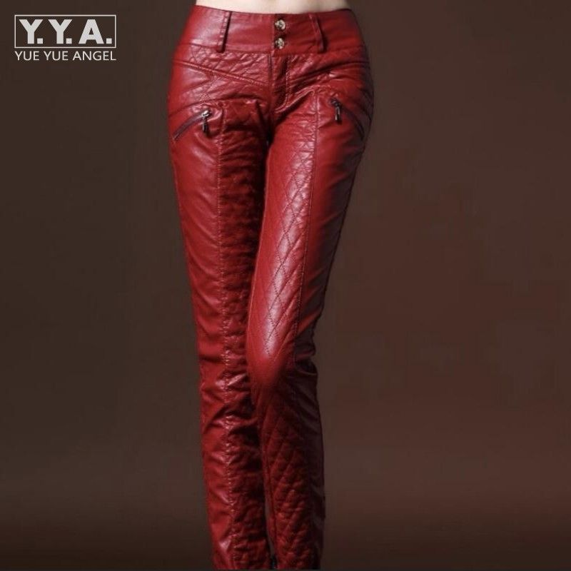 New Chic Winter Womens Faux Leather Slim Fit Pants Warm Trousers Leggings Skinny PU Leather Women Pants Female Fashion Trousers