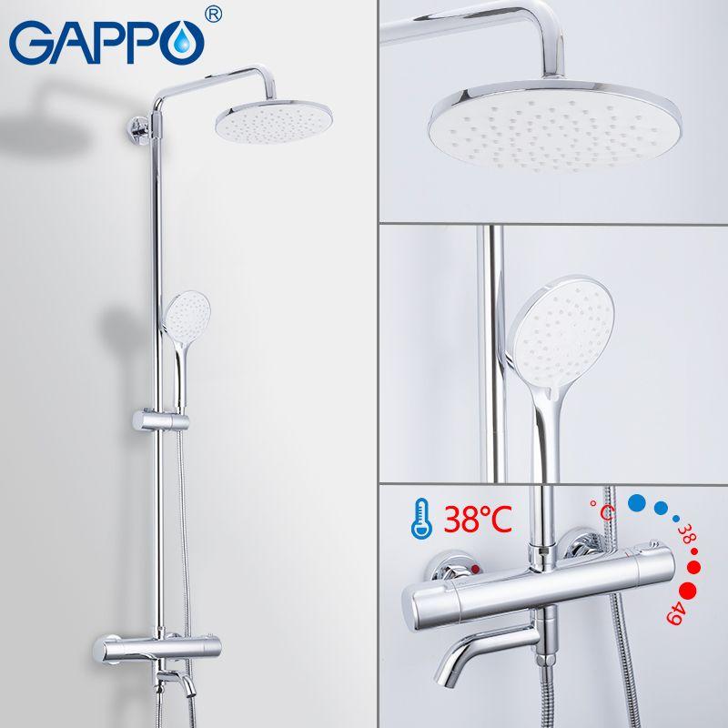 GAPPO Dusche Wasserhahn wasserfall bad thermostat dusche wasserhahn dusche mischbatterien bad set wand montiert thermostat armaturen