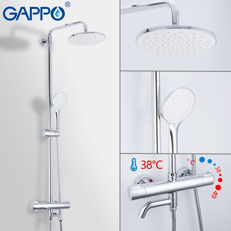 GAPPO Shower Faucet waterfall bathroom thermostat shower faucet shower mixer taps bath set wall mounted thermostatic faucets