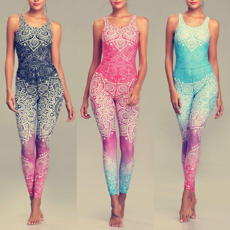 LI-FI Mandala Print Yoga Set Fitness Women Sports Running Suit Gym Wear Halter Vest Workout Elastic Quick Dry Yoga Sets
